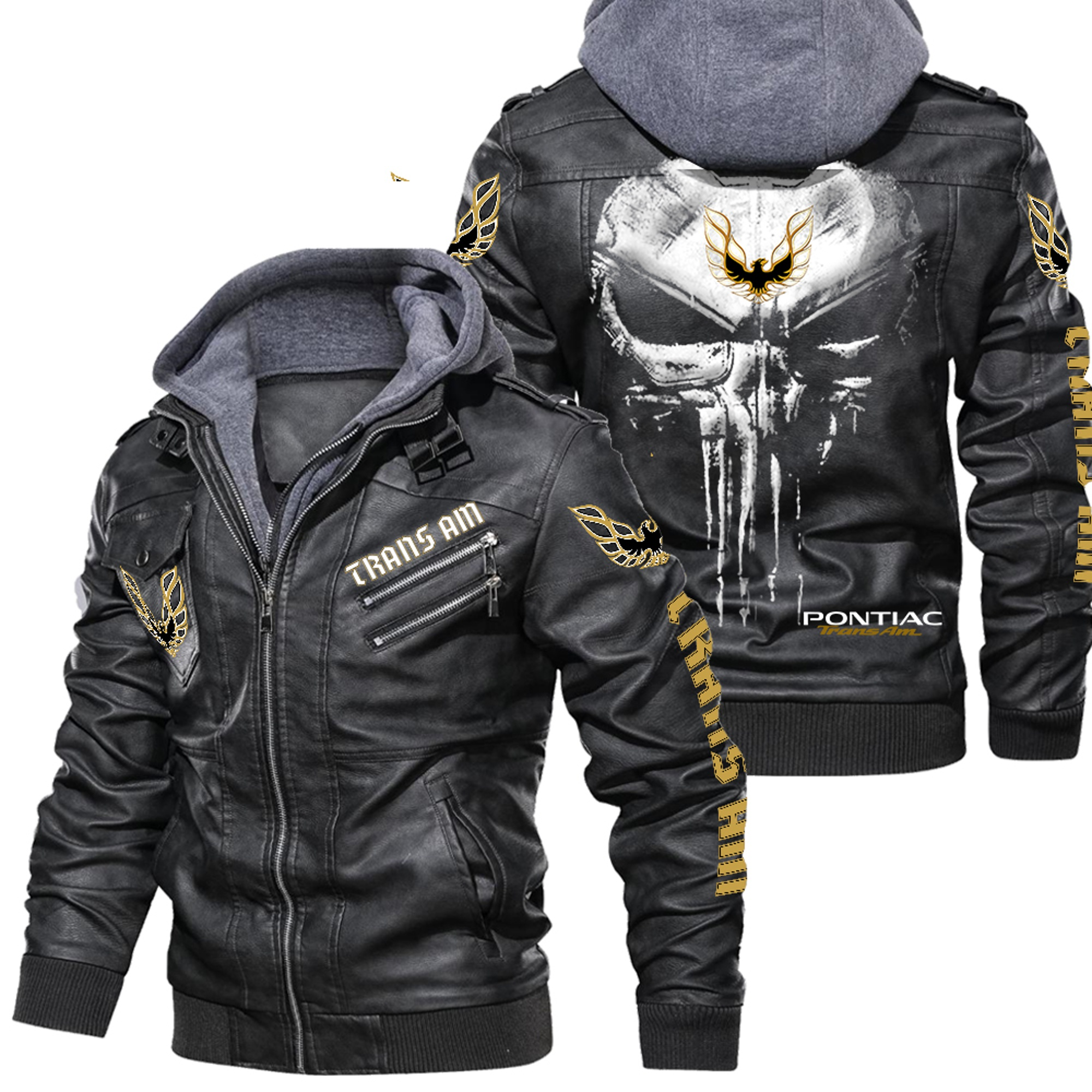 Mustang Black Leather Jacket,Warm Jacket, NFL Winter Outer Wear Gift
