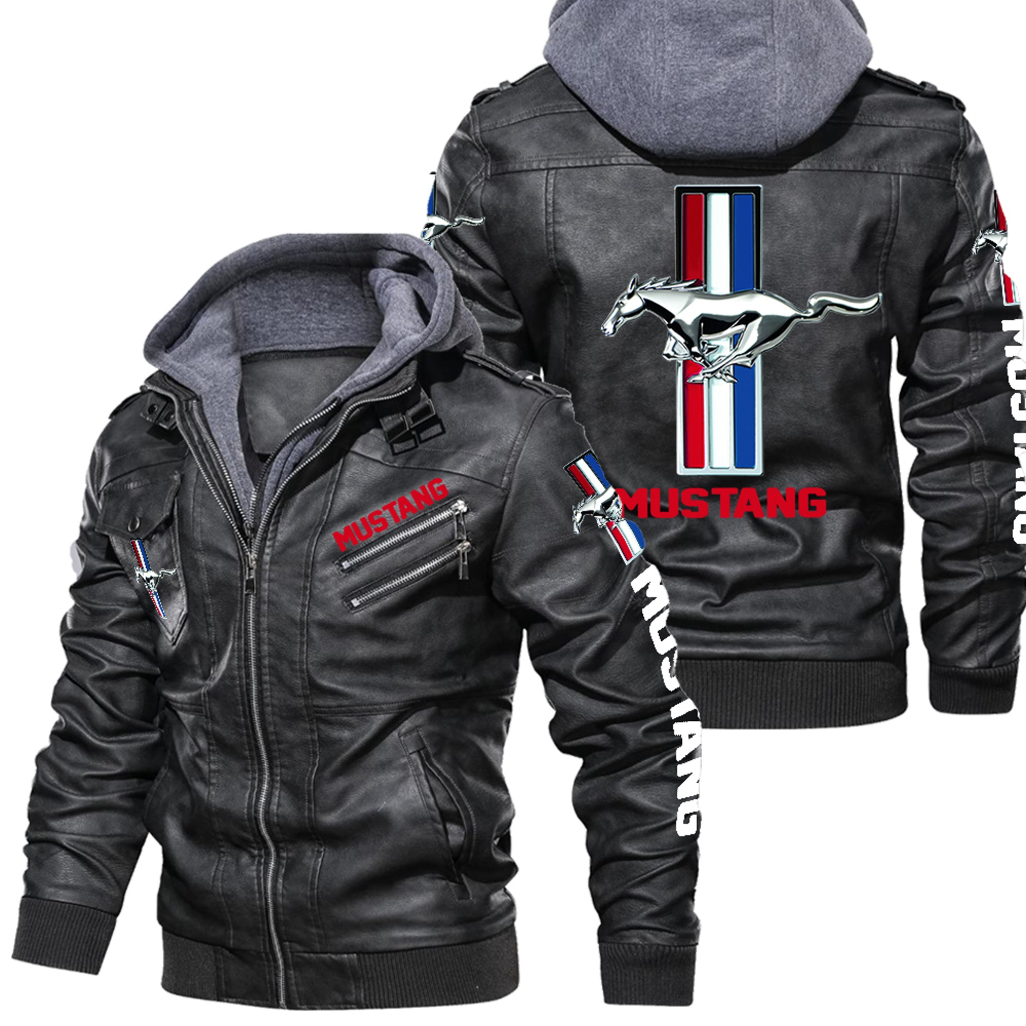Mustang Black Leather Jacket,Warm Jacket, NFL Winter Outer Wear Gift (Copy)
